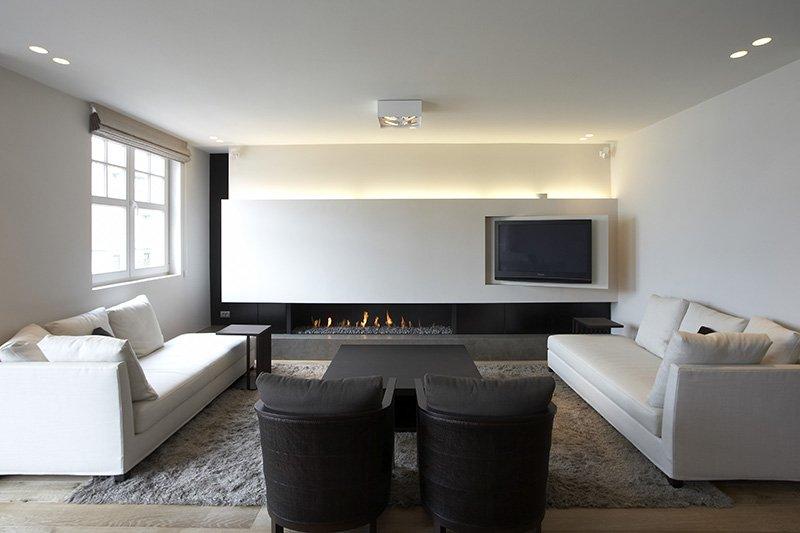 Zithoek ontworpen door interieurarchitect Dennis T'Jampens in een tijdloze stijl