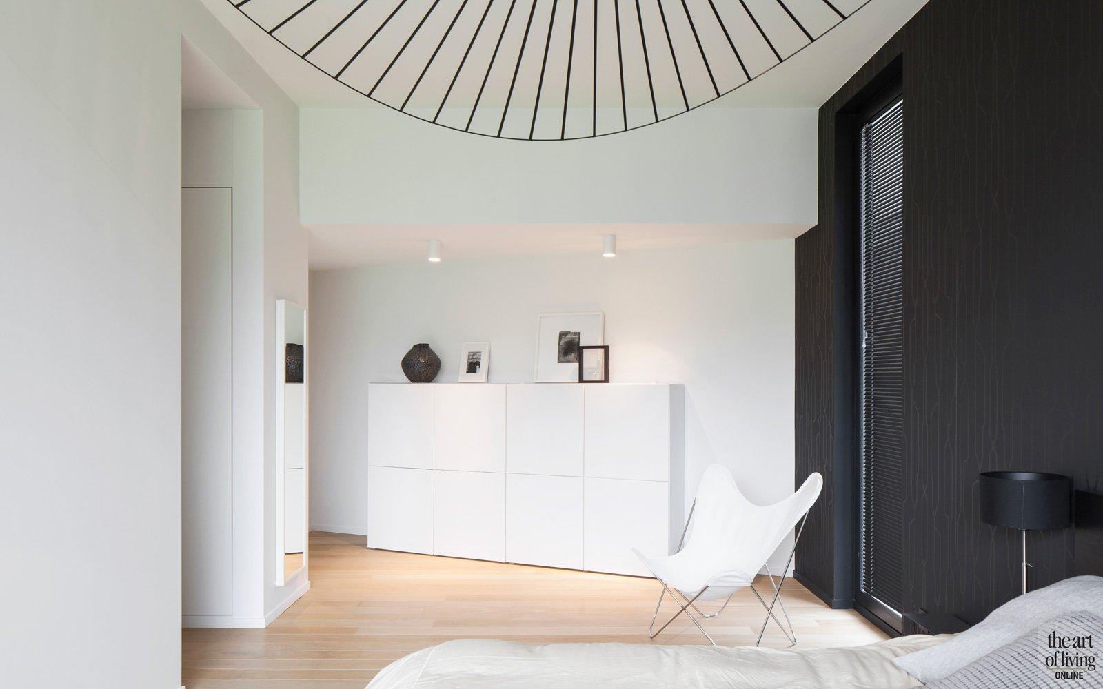 Slaapkamer, houten vloer, woning Hervé vanden Haute