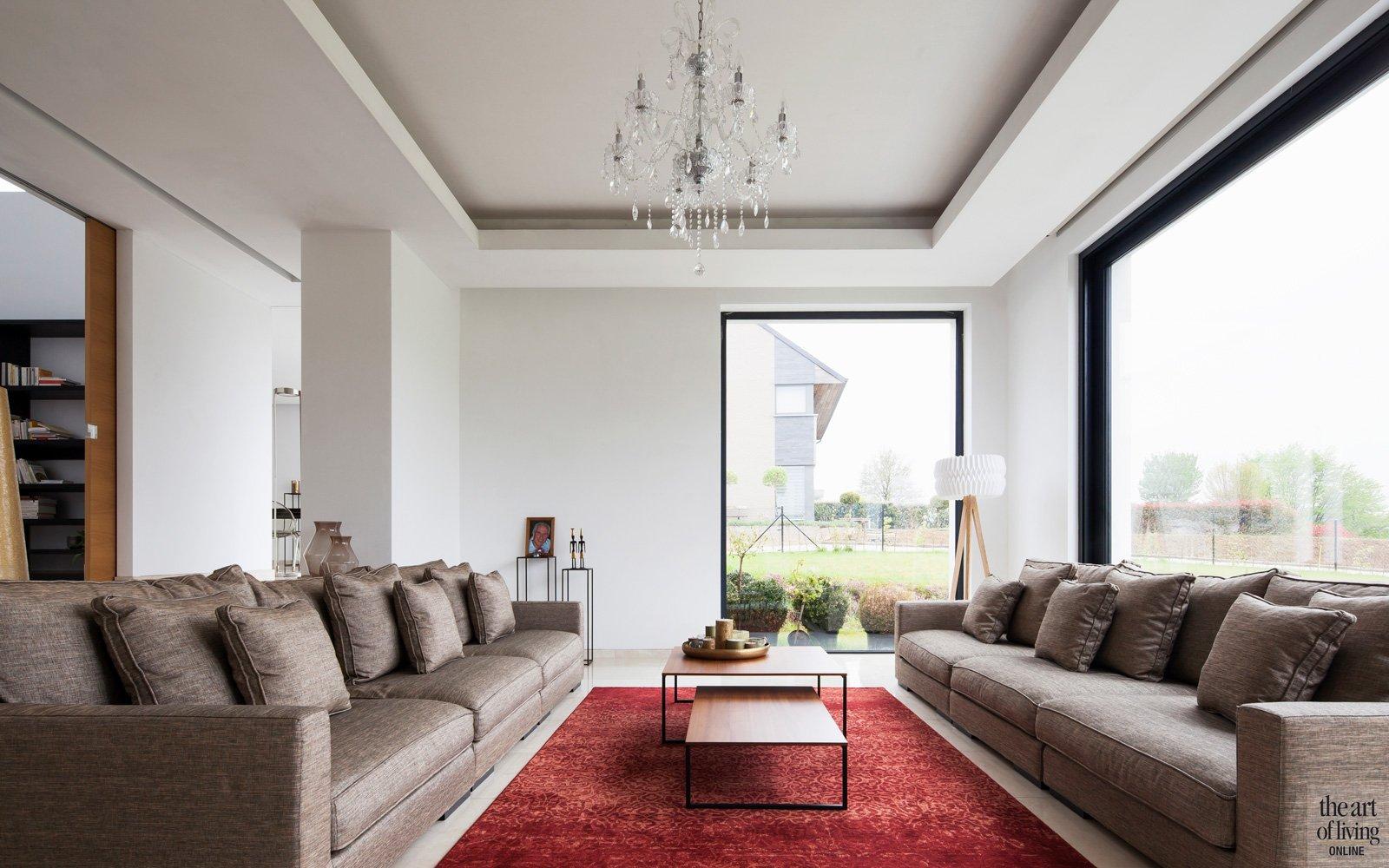 Gezellige woonkamer met rood tapijt. Veel licht inval