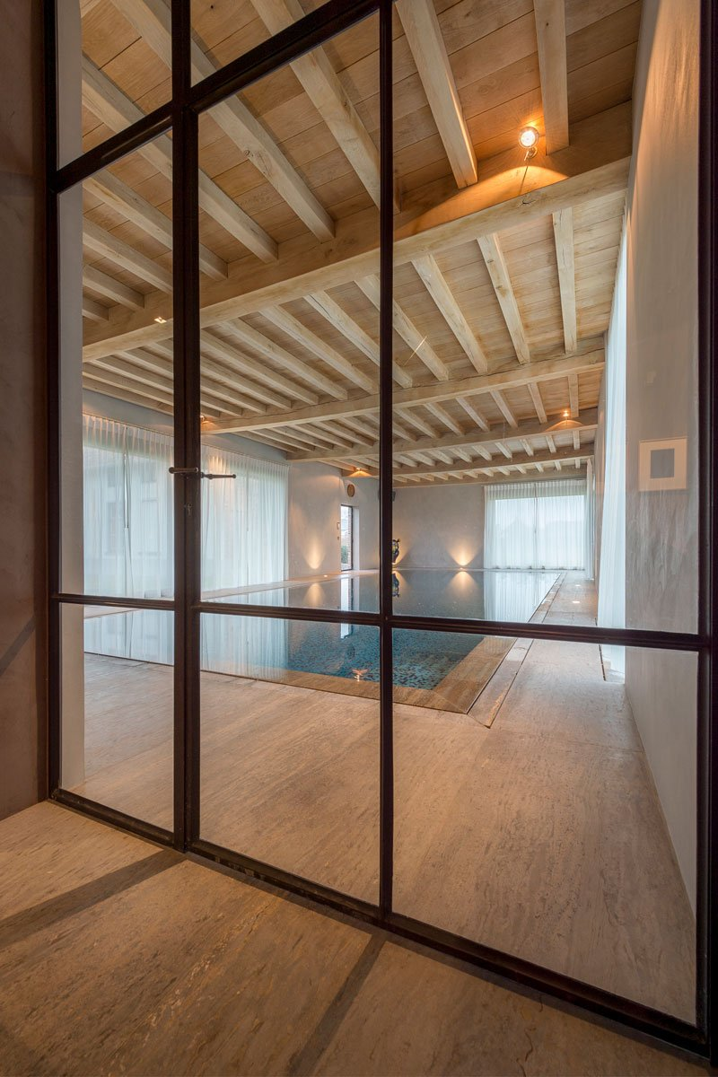 Stalen deur, Glas, Zwembad, wellness, Otec Pools, Herenhoeve, Bernard de Clerck