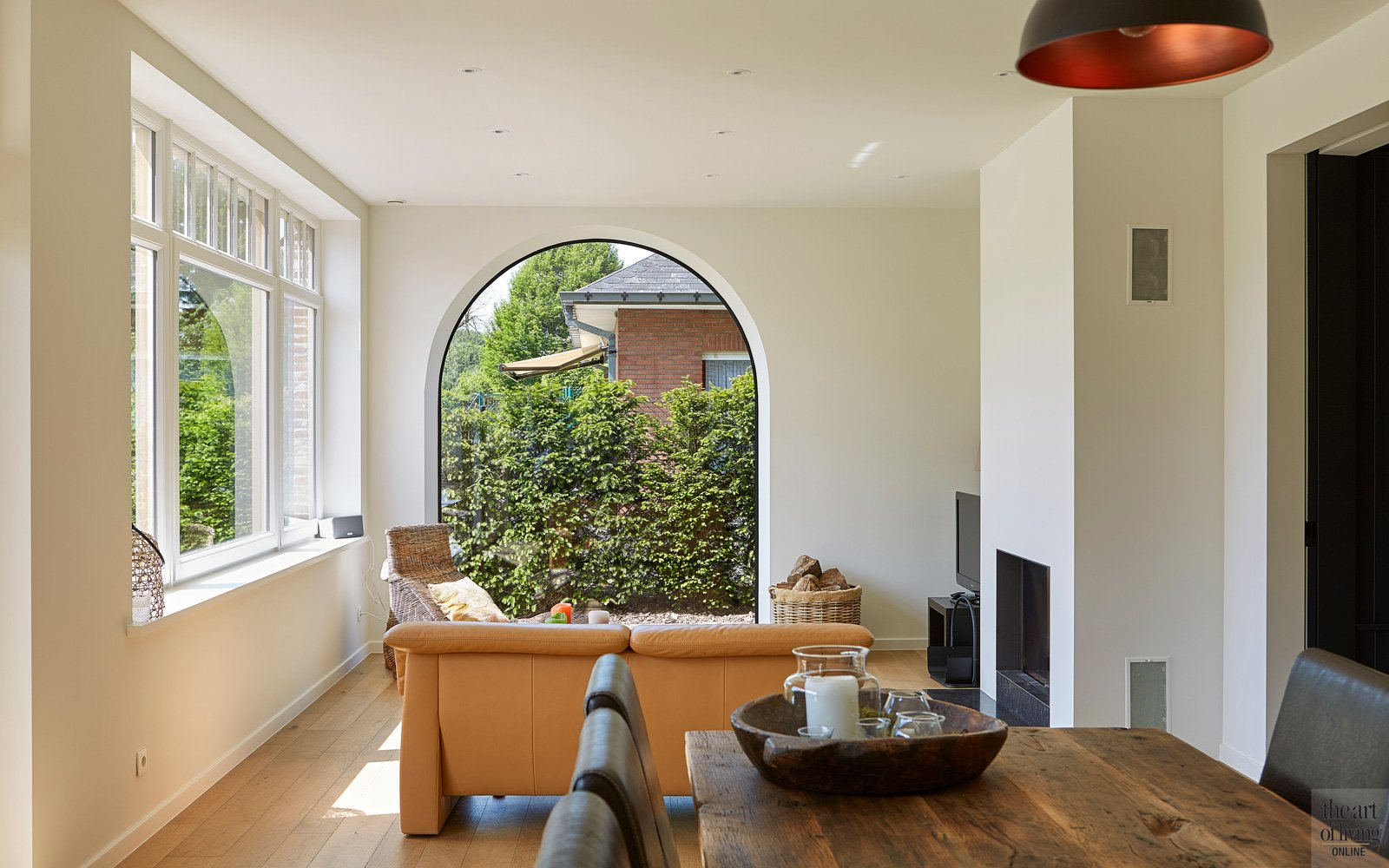 Panoramisch raam, woonkamer, houten vloer, De Waegeneer Parketvloeren
