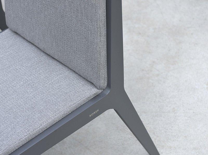 Borek Dekton Boomerang table, alu Boomerang chair, Frans van Rens, Outdoor living, Tuinmeubelen, Terras, Exclusieve tuinstoelen