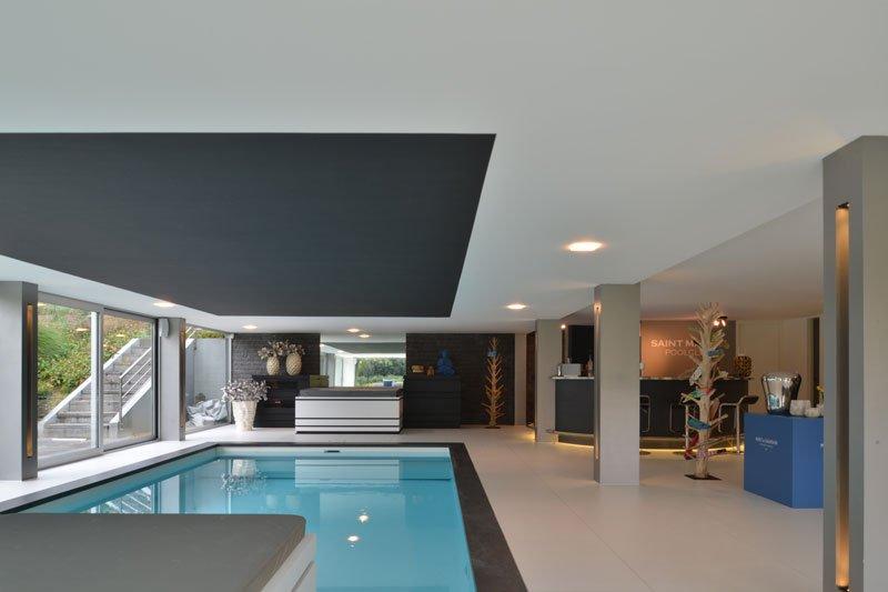 Binnenzwembad, Luc de Schepper, wellnessruimte, zwembad, moderne villa, VVR Architecten