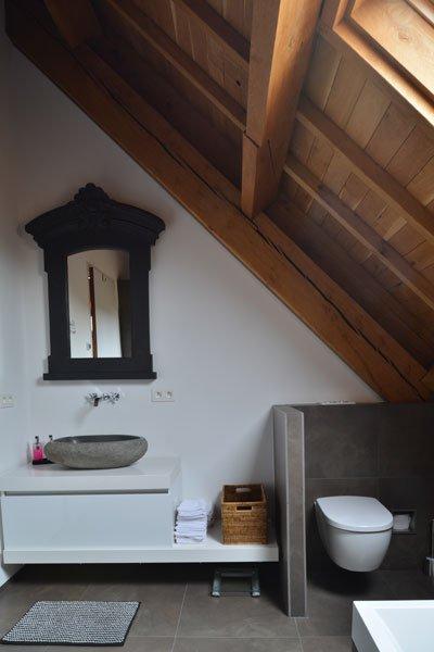 Badkamer, toilet, houten balken, gastenverblijf, modern, VVR Architecten