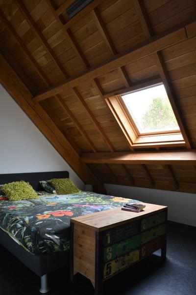 Slaapkamer, dakraam, bed, gastenverblijf, modern, VVR Architecten