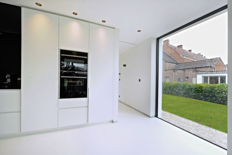Keuken Gietvloer Witte : Gietvloer op houten vloer elegant houten vloer keuken mooi witte