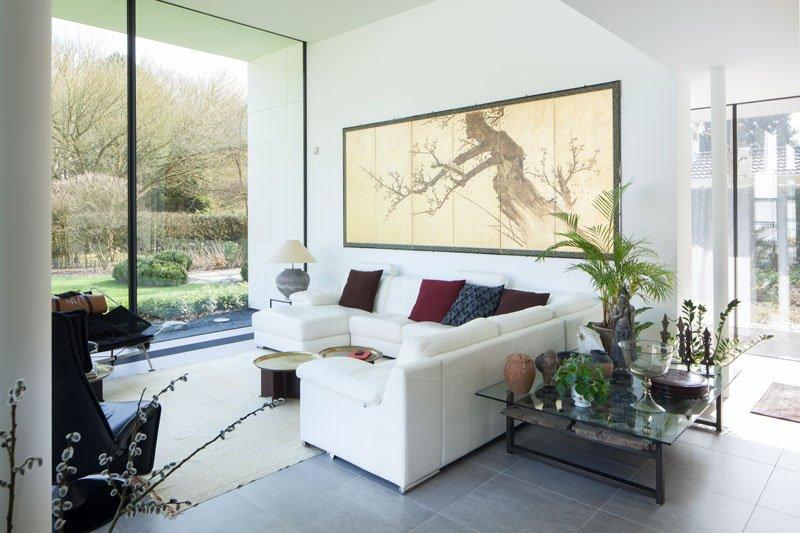 Tuinkamer, genieten, grote ramen, zicht op de tuin, hoekbank, lounge, renovatie, p.ed architecten