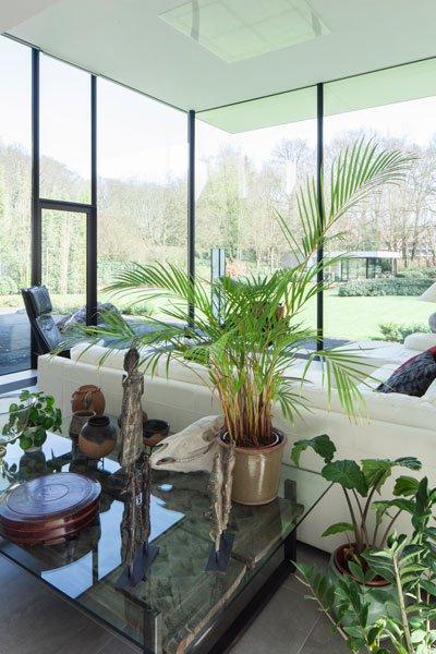 Tuinkamer, grote ramen, veel glas, lichtinval, zicht op de tuin, renovatie, p.ed architecten