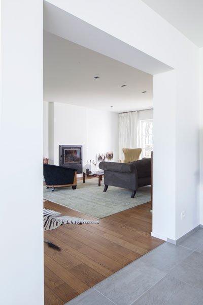 Woonkamer, parketvloer, houten vloer, doorkijk, renovatie, p.ed architecten
