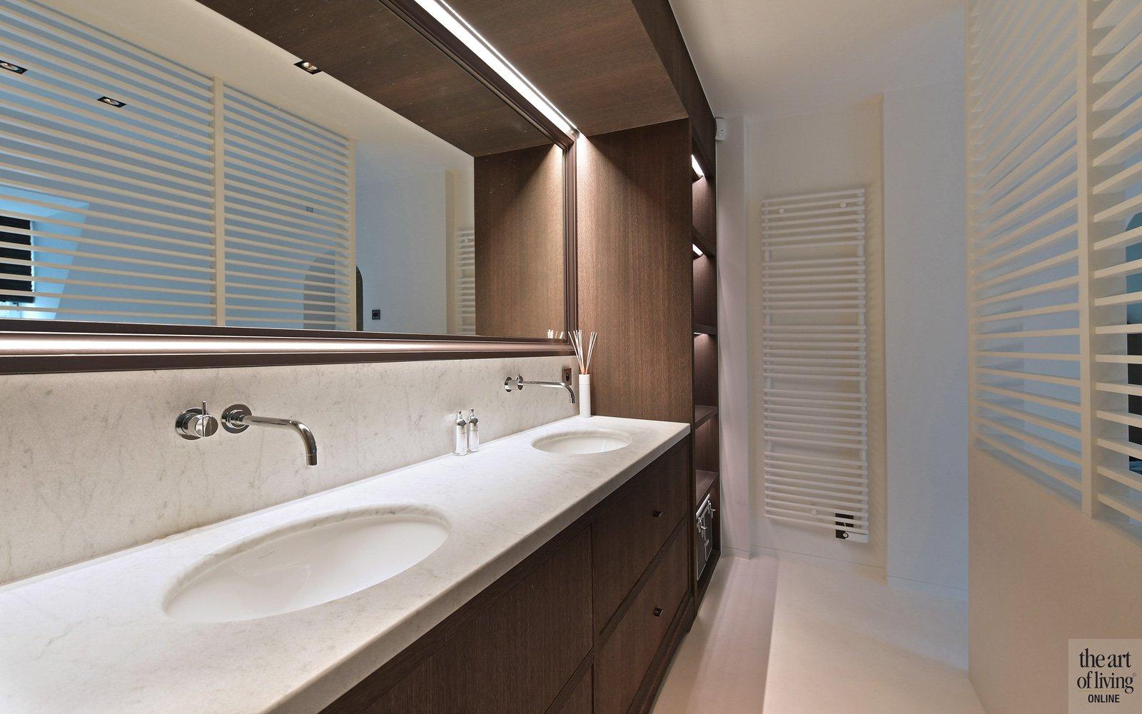 Wastafel, badkamer, lavabo, sanitair, grote spiegel, klassiek modern, Jurgen Weyne