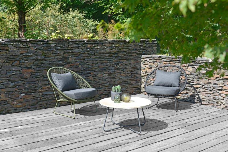 2018 MAK & LUUK rope Nora lounge chair, teak alu Lily coffee table