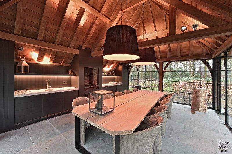 Bijgebouw, rieten dak, stalen ramen, Metaal op Maat, klassiek modern, Jurgen Weyne