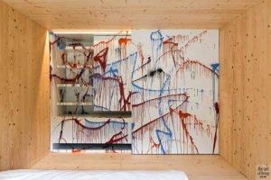 Kleurrijk, slaapkamer, verfpistool, kinderen, sculptuur