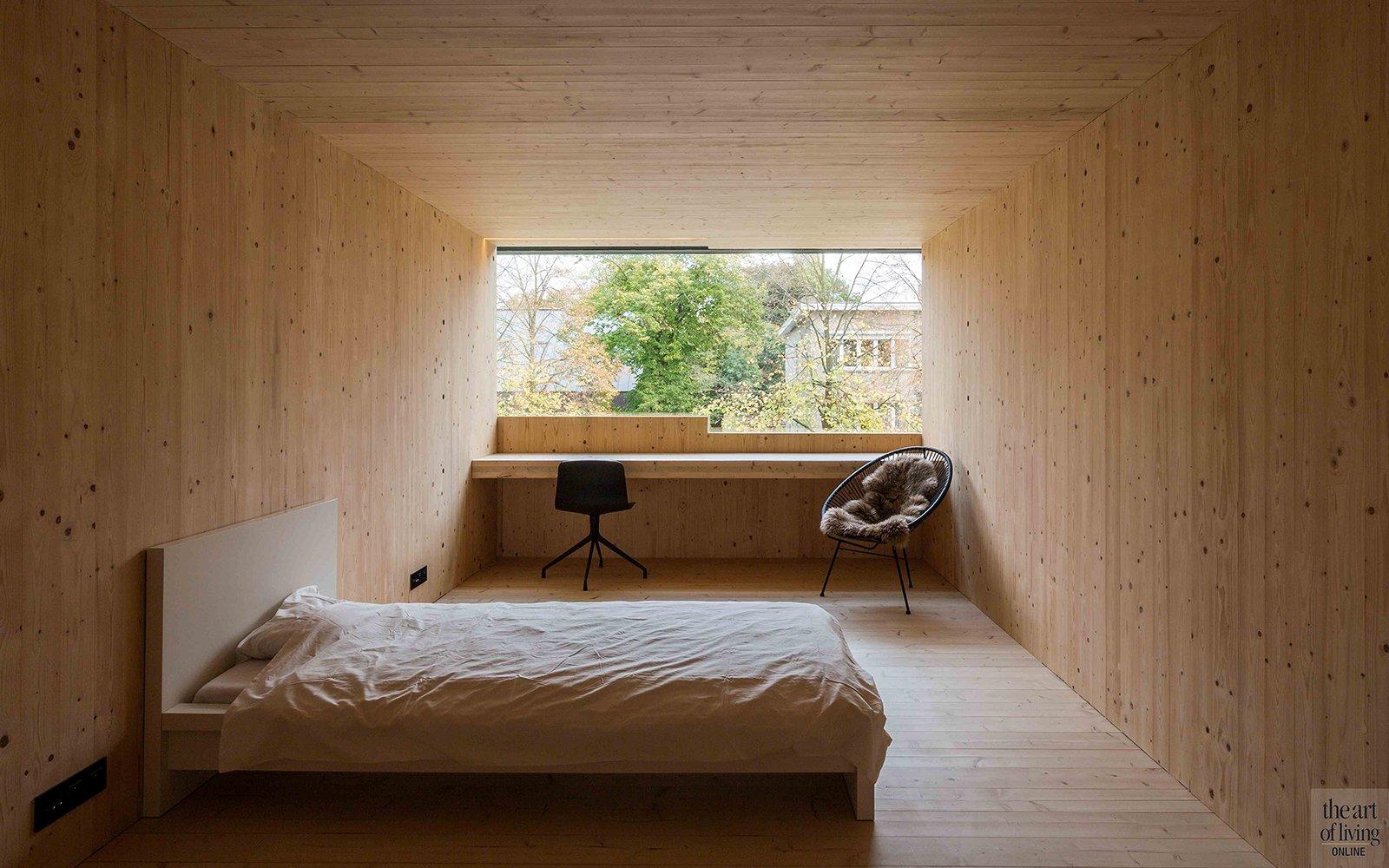 bureau, bed, slaapkamer, raam, hout