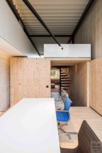 kantoor, bureau, woning, houten gordijnen, scheidingswand