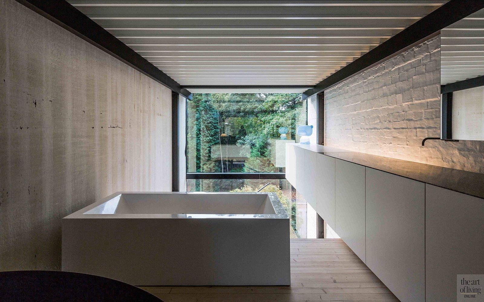 Badkamer, ensuite, bad, raam, kraan, afgrond, open ruimten, Icoon Architecten