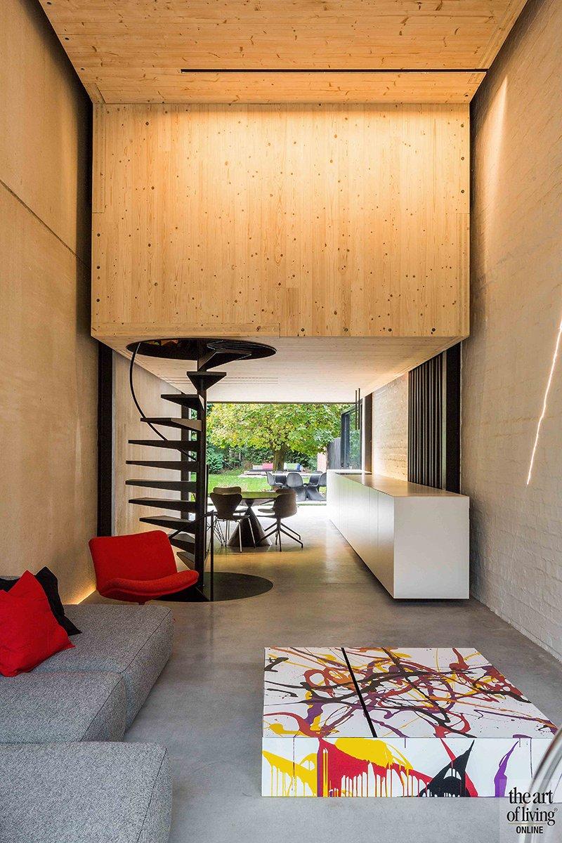 Icoon Architecten, woonkamer, keuken, open, hout, dozen, woning