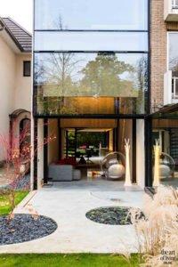 Icoon Architecten, exterieur, entree, openslaande deuren, glazen pui, ramen, glaspartij, woonkamer, woning