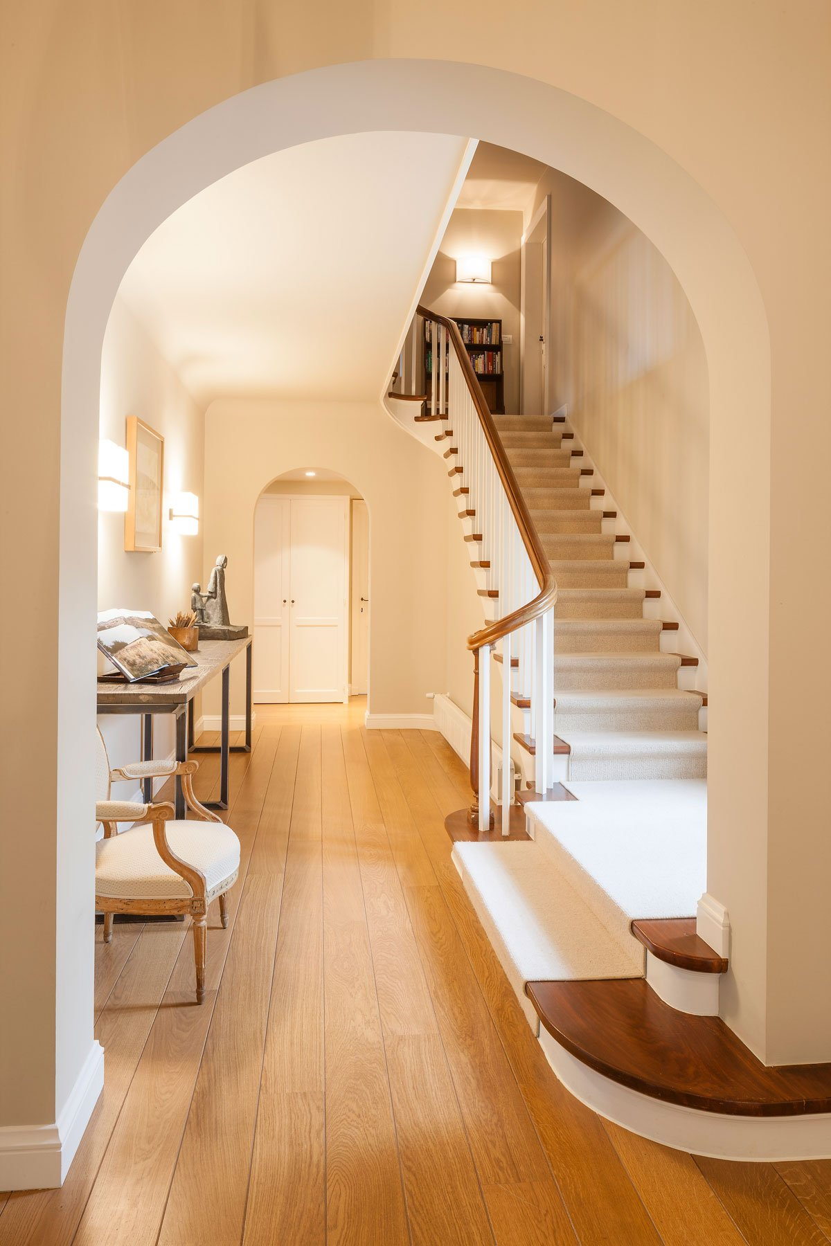 Amerikaanse stijl, trap, houten vloer, Amerikaanse stijl, b+ villas