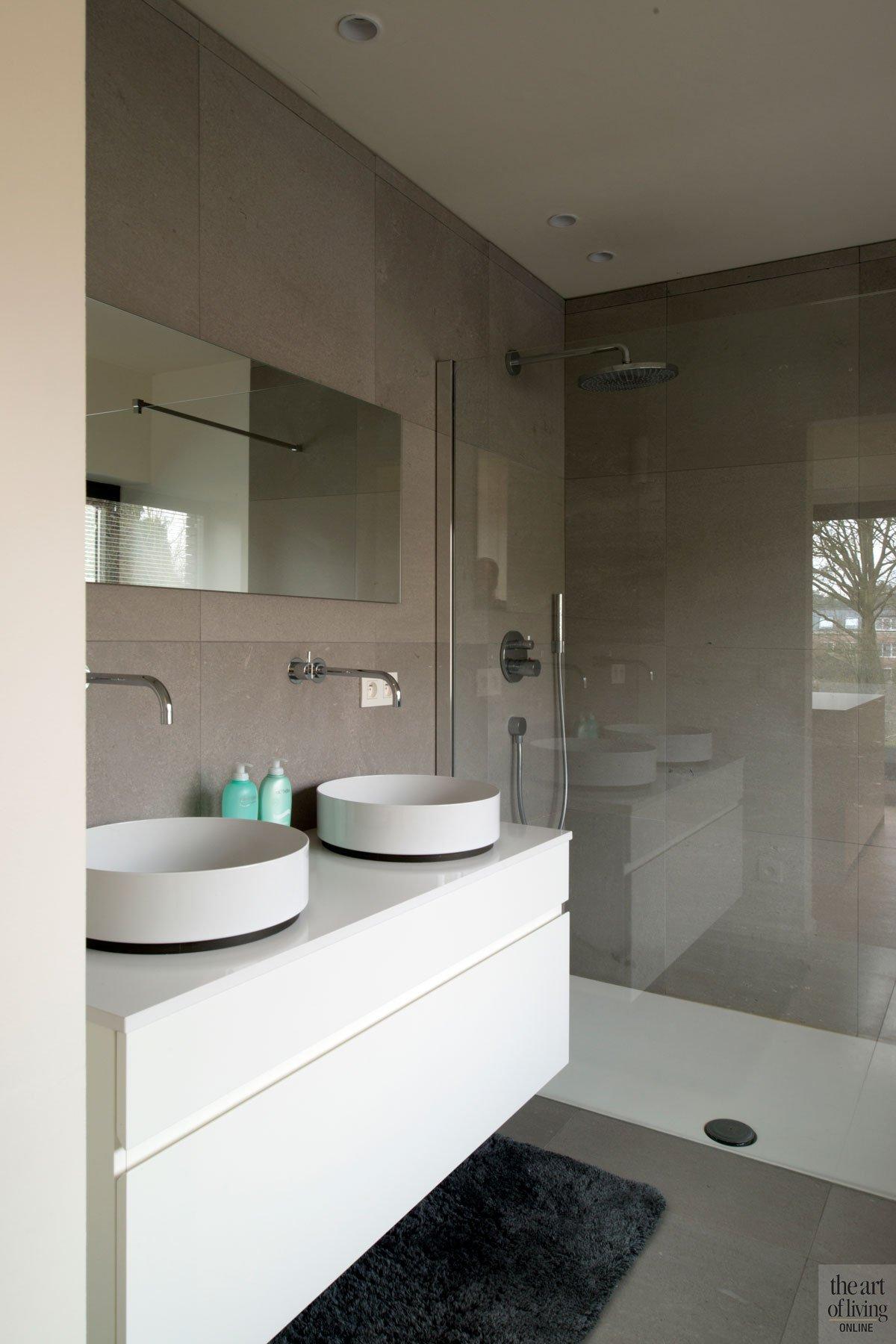 Badkamer, waskommen, Alape, douche, sanitair, inloopdouche, moderne villa, Leers & Partners