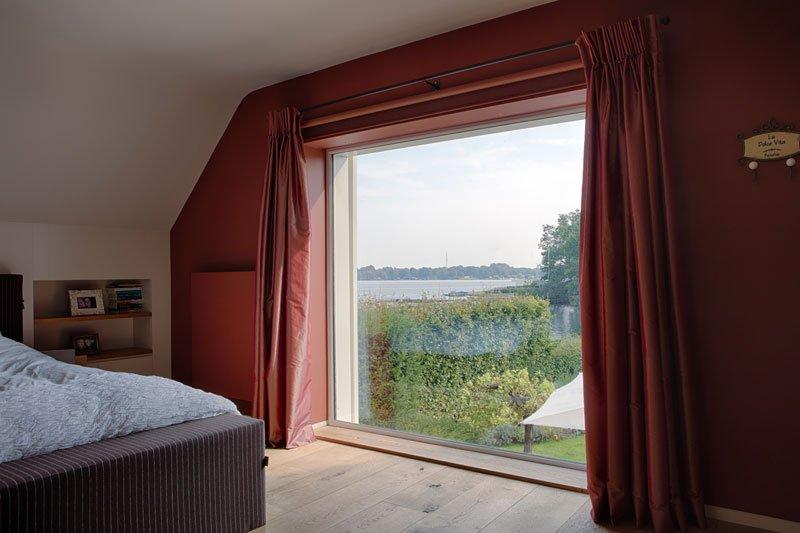 Slaapkamer, bed, master bedroom, boxspring, uitzicht, groot raam, Amerikaanse stijl