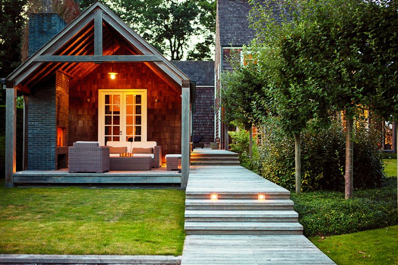Boothuis, tuinhuis, buiten, tuin, verlichting, hout, tuinmeubelen, Amerikaanse stijl
