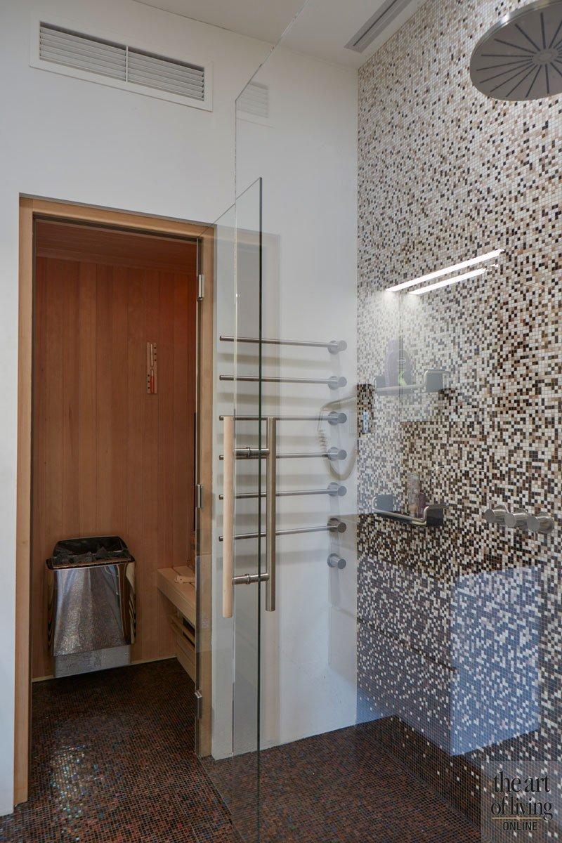 Wellnessruimte, wellness, sauna, regendouche, ontspannen, modern en eigentijds, De Bever Architecten