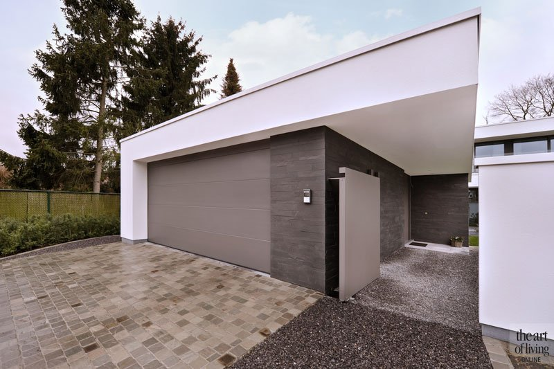 Garage, voorkant, entree, oprit, eigentijdse villa, Schellen Architecten