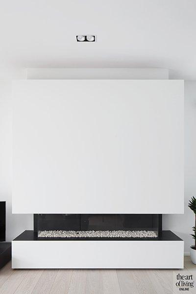 Minimalistische openhaard gerealiseerd door Architectenburo Berkein en Interieurarchitect Philip Simoen