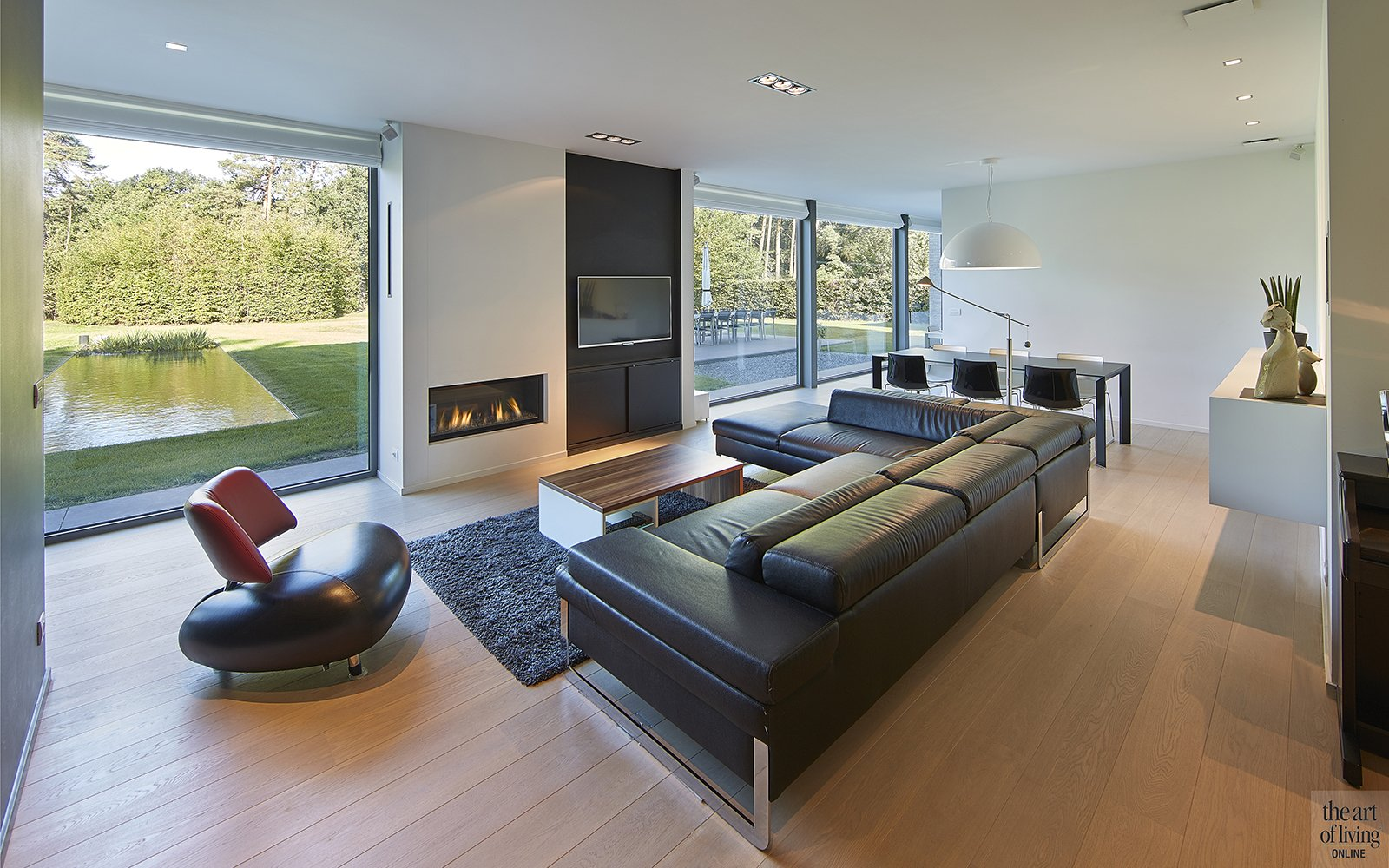Nieuwbouwwoning, Schellen Architecten, Woonkamer, Trap, Lounge, Houten vloer, Raampartijen, Haard, Bank