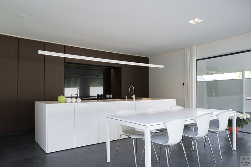 Hedendaagse villa, Steven De Jaeghere, Moderne villa, Exterieur, Tuinontwerp, Keuken, Moderne keuken, open keuken, woonkeuken, leefkeuken, eettafel