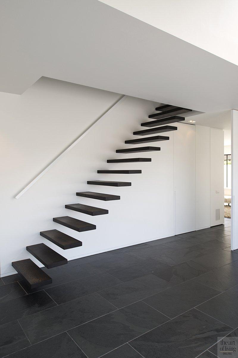 Hedendaagse villa, Steven De Jaeghere, Moderne villa, Exterieur, Tuinontwerp, trap, Hal, tegelvloer, natuursteen tegels
