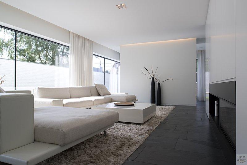 Hedendaagse villa, Steven De Jaeghere, Moderne villa, Exterieur, Tuinontwerp, Woonkamer, Living, lounge, raampartijen