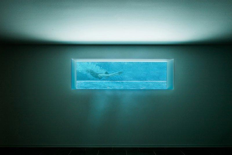 Moderne luxe villa, Architectuuratelier De Jaeghere, glaspartij, zwembadraam
