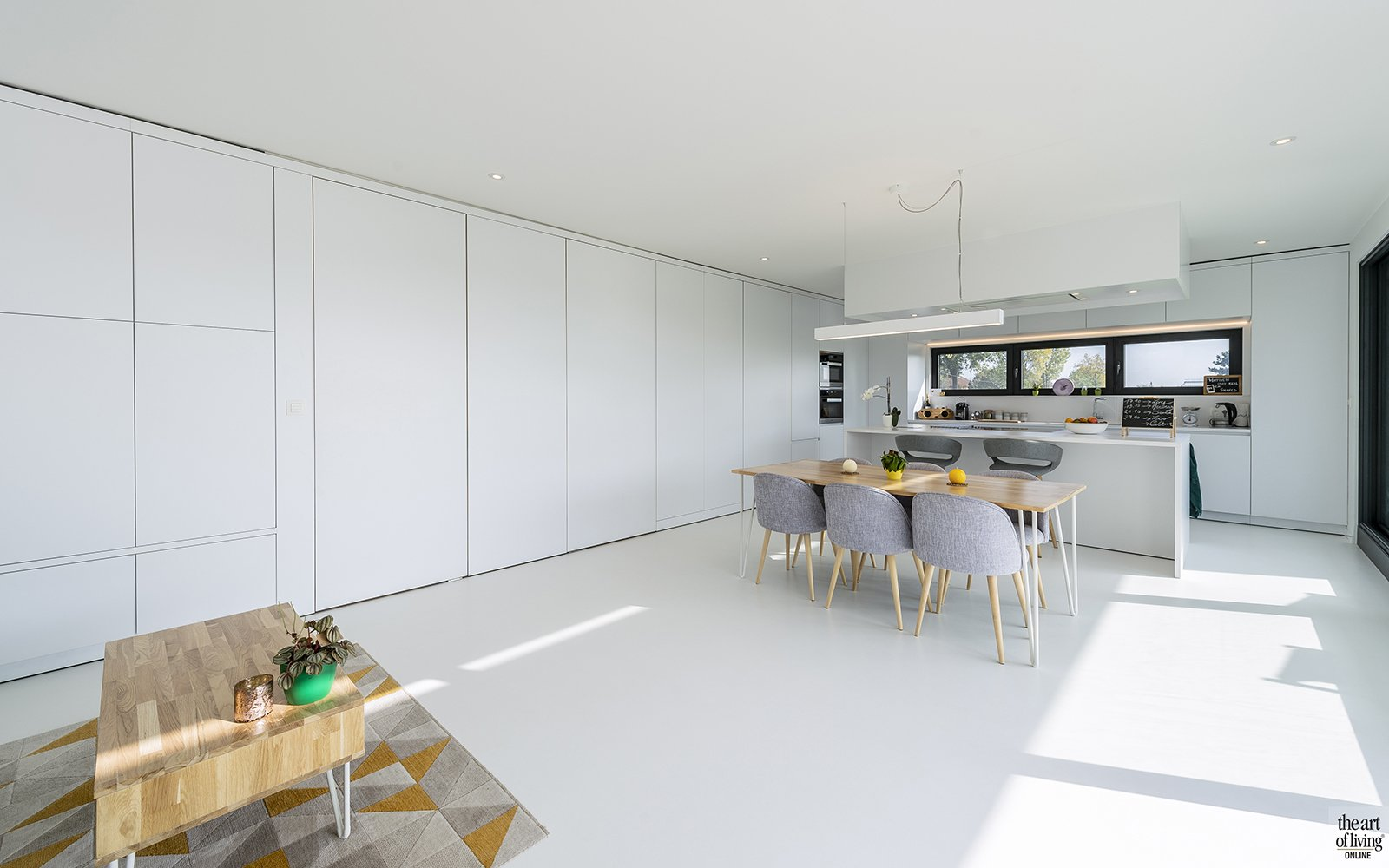 Kantoor aan huis, P_2 Architecten, Moderne villa, Strak interieur, Modern interieur, Praktijk aan huis, Plastische chirurg, Plastic Art, Keuken, Woonkamer,