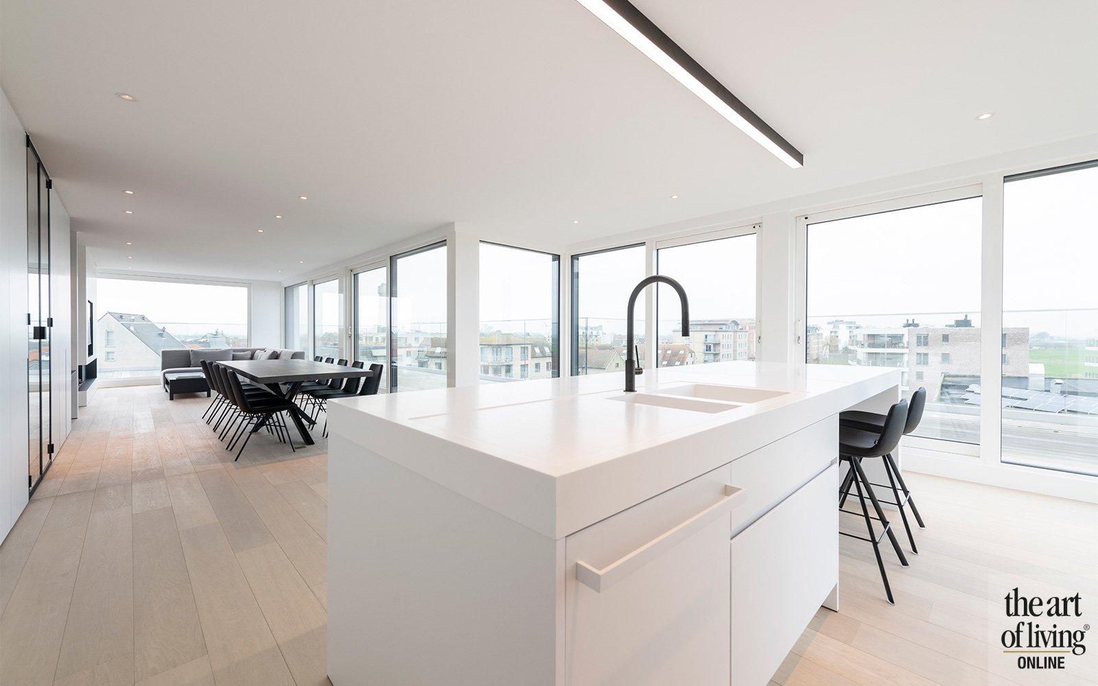 strakke penthouse, strak, appartement, open, uitzicht, ruimtelijk
