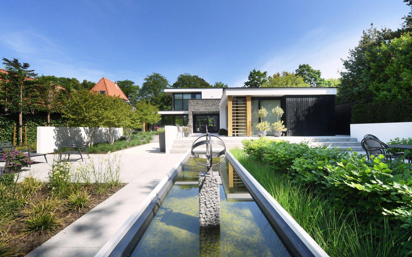 Ede, natuurgevelsteen, Natuurstenen gevel, Moderne statige villa ,
