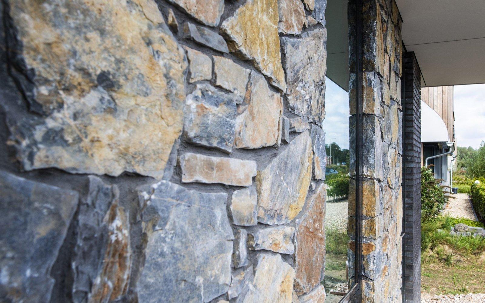 Natuurgevelsteen, kantoorvilla, Brokken natuursteen, unieke uitstraling